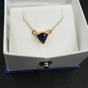 Vintage Iolite 14k Yellow Gold Necklace